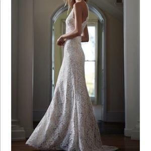 BHLDN Lace High Neck Wedding Dress 0